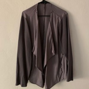 Grey draped front mixed media jacket